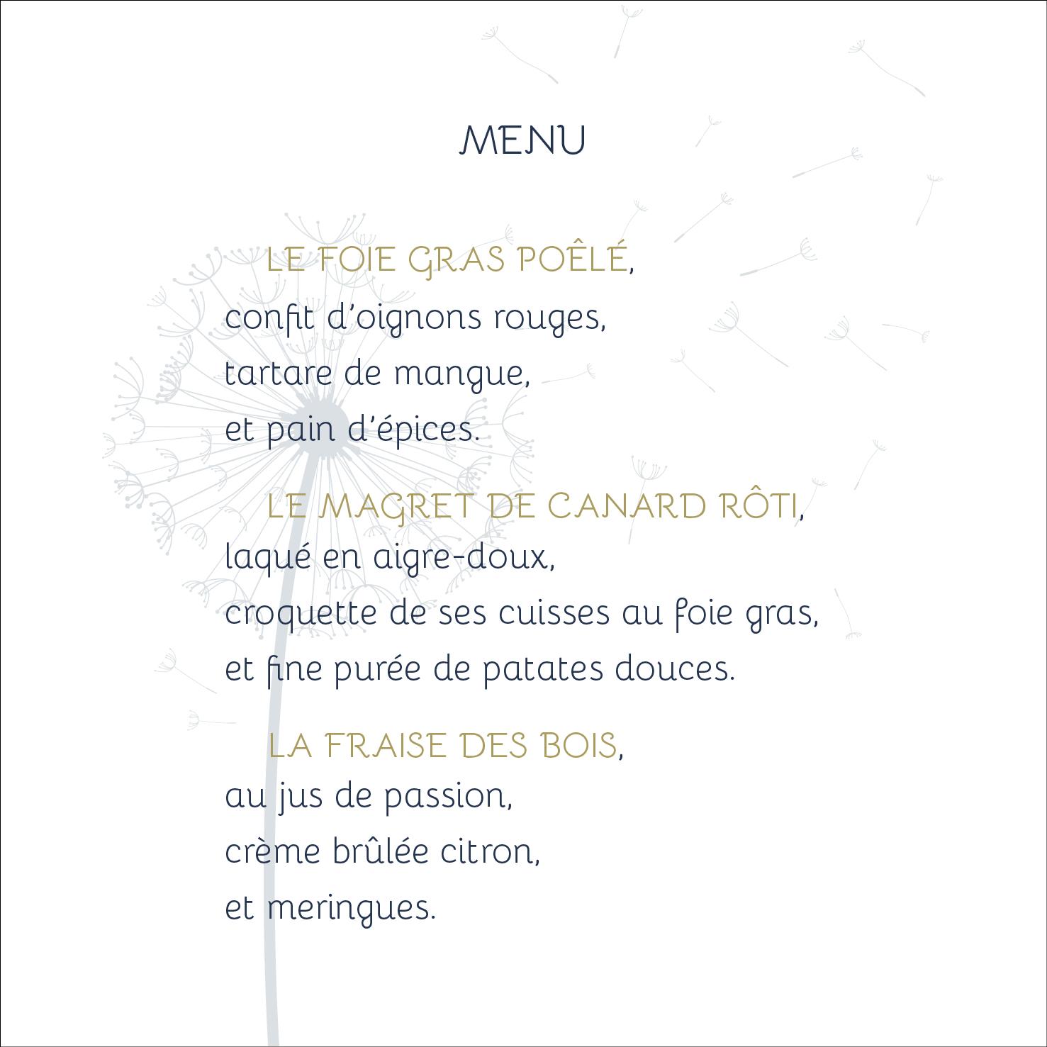 Papeterie mariage, faire-part personnalisable, menu