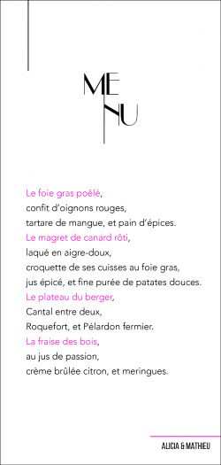Papeterie mariage, menu