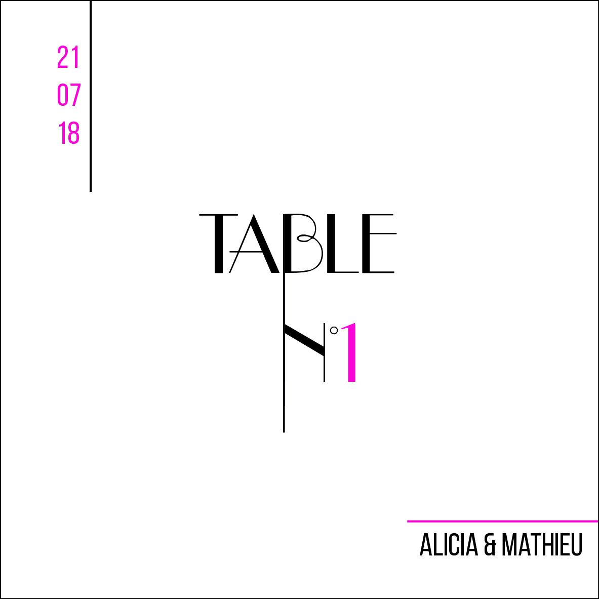 Papeterie mariage, numéro de table